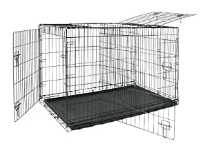 Allmax 3-Door Folding Metal Dog Crate with ABS Tray and Divider, Medium, Black