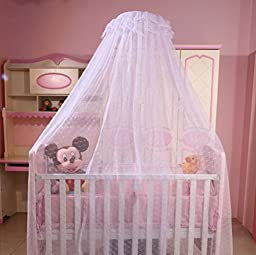 Baby Kids Toddler Bed Canopy Crib Cot Netting Infant Hanging Mosquito Net Dome Curtains (Netting with Stand, White)