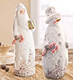 Pebbled Santa and Snowman Statue Set