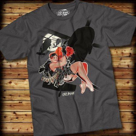 Hot Lz Bombshell Babe 7.62 Design T-Shirt - Charcoal - Medium