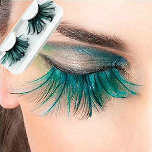 L'asher Green Feather False Eyelashes Eye Lashes Party Dance Halloween Costume (3 Pairs)