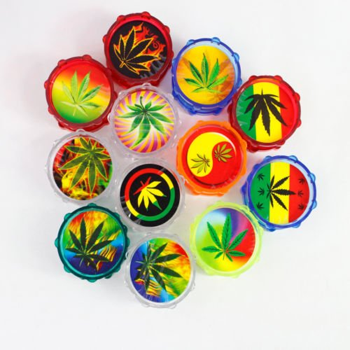 24Pcs Acrylic Smoking Smoke Tobacco Weed Pot Herbal Herb Grinder Spice Crusher Cutter (Random Delivery)