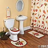 Fall Leaves Toilet Lid Cover and Rug