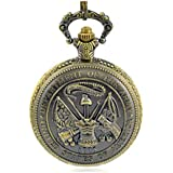 CredDeal Us Department of Army Pin Bronze Antique Pocket Watch Brass Tone + Chain Pw044 with Gift Box