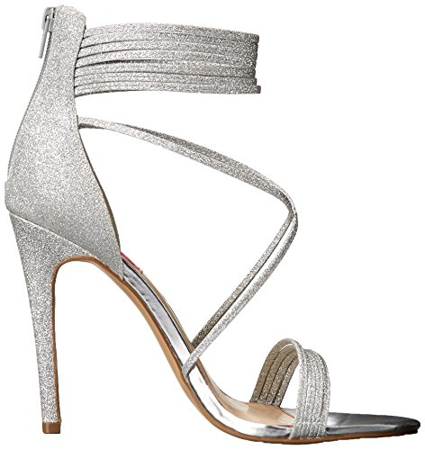 Blue by Betsey Johnson Women's KORA dress Sandal, Silver Glitter, 8 M US