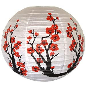 Click to buy Red Sakura (Cherry) Flowers White Color Chinese/Japanese Paper Lantern from Amazon!
