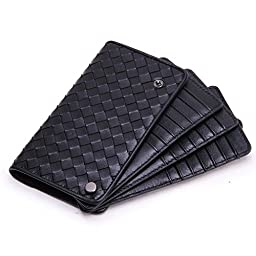 Jiame Leather Weave Card Case (Black)
