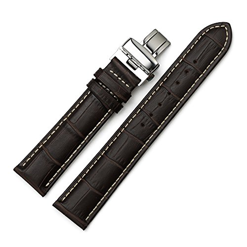 Istrap 19Mm Genuine Calf Leather Padded Deployant Clasp Watch Band Contrast Stitch - Brown 19