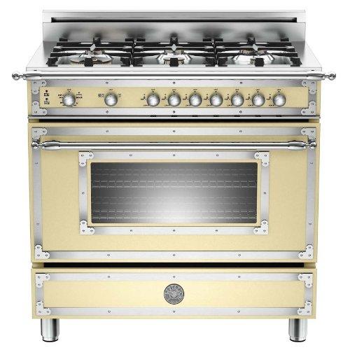 Bertazzoni Her366Gascr Heritage 36 Matte Cream Gas Sealed Burner Range front-607440