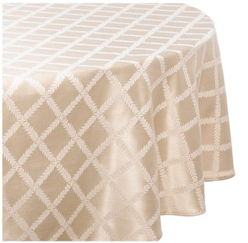 Lenox Laurel Leaf 70-By-86-Inch Oval Tablecloth, Ivory
