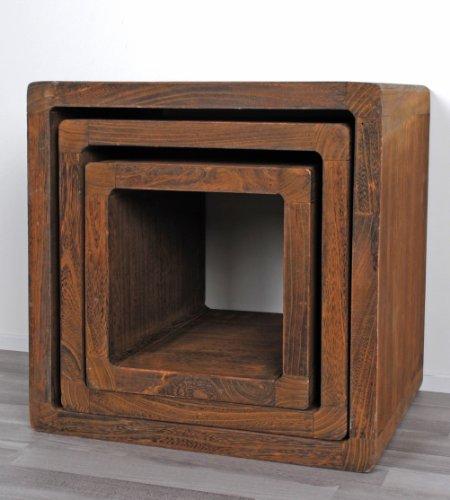 Set di 3 cubi da appoggio stile rustico shabby design for Cubi in legno per arredare