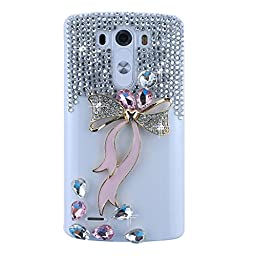 LG V10 Bling Case - Fairy Art Luxury 3D Sparkle Series Bowknot Bow Crystal Design Back Cover with Soft Wallet Purse Red Cloth Pouch - Pink