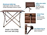 Trekology Camping Table with Aluminum Table Top - Portable Folding Table in a Bag for Beach, Picnic, Camping, Patio, Fishing, Indoor, Brown Color