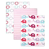 Luvable Friends Flannel Receiving Blanket, Pink Elephants