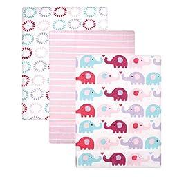 Luvable Friends Flannel Receiving Blanket, Pink Elephants