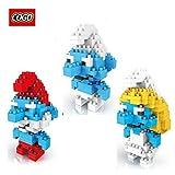 Cogo 3 Box Diamond Blocks Smurf Papa Baby Smurfette Compatible LOZ Nano Block Parent-child Games Building Blocks...