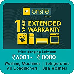 Onsite 1-year extended warranty for Large Appliance (Rs. 6001 to < 8000)