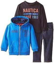 Nautica Baby Boys\' 3 Piece Fleece L Nautica Tee Denim Pant Set, Blue, 18 Months