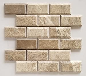 Emperador Light Marble 2X4 Deep-Beveled & Honed Subway Tile - STANDARD