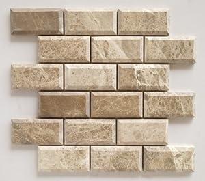 quality beveled subway tile   Emperador Light Marble 2X4 Deep-Beveled & Honed Subway ...
