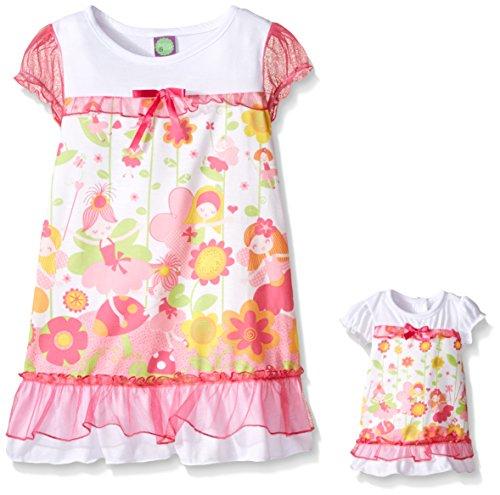 Dollie & Me Big Girls Floral Sleep Gown, White/Pink, 10