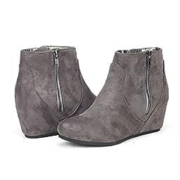 DREAM PAIRS NARIE Women\'s Casual Outdoor Side Zipper Low Hidden Wedge Heel Booties Shoes Grey Size 10