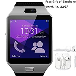 Samsung GALAXY CORE PRIME 4G Compatible and Certified set of Earphones with Mic + DZ09 Bluetooth Smart Watch with SIM Card Slot and Memory Slot upto 16GB supported Watch Phone Remote Camera ( Get Mobile Charging Cable worth Rs 239 FREE & 180 days Replacement Warranty )