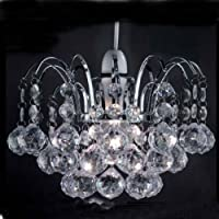 Chrome Frame Oreil Pendant Ceiling Light Shade with Acrylic Crystal Ball Drop Hanging Droplets from ELINKUME