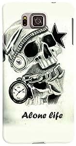 PrintVisa Skull Alone Life Case Cover for Samsung Galaxy Alpha