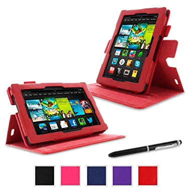 "rooCASE Case for Amazon All- Kindle Fire HD 7 - Dual-View Folio Case 7"" Tablet (2013 Model) - RED (With Auto Wake / Sleep Cover)"