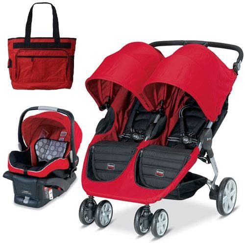 Britax U361818 - B-Agile Double with matching car seat and diaper bag in Red