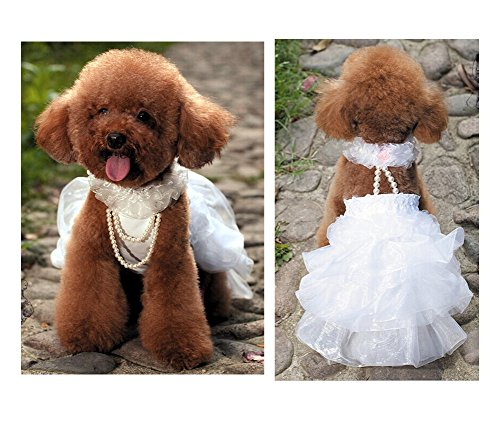 Wed2BB Fashion TuTu Dress White Bridal Wedidng dress For Pet-Middle Size