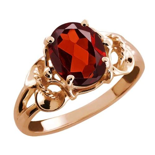 2.00 Ct Oval Red Garnet Rose Gold Plated Sterling Silver Ring