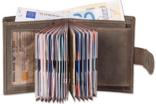 Woodland - Portafoglio super-compatto con XXL tasche carte di credito per 18 carte di pelle di bufalo naturale in Dark Brown / Talpa