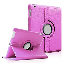 FINTIE (Violet) 360 Degree Rotating Stand Smart Cover PU Leather Case for Apple iPad 4th Generation Retina Display / the new iPad 3 / iPad 2 (wake/sleep capability)