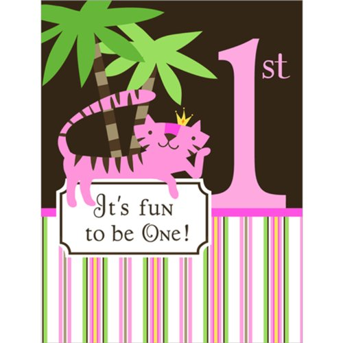 Queen of the Jungle 1st Birthday Party Invitations - Girl First Birthday Invitations - 8 Count