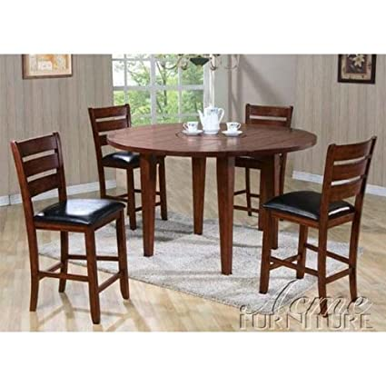 5pc Drop Leaf Round/Square Counter Height Dining Table & Stools Set in Cherry Finish