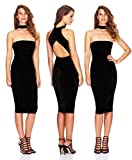 ALAIX Women's Off Shoulder Sleeveless Sexy Mini Bandage Party Evening Dress Black-L