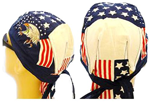 Doo Rag Set of 4 American Flag Food Service Skull Cap Head Wrap Chef Cook (Cook Hair Net compare prices)