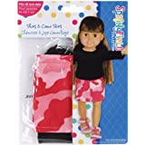 Fiber Craft Springfield Collection Shirt And Camo Skirt/Black Shirt/Pink Camo Skirt For Doll