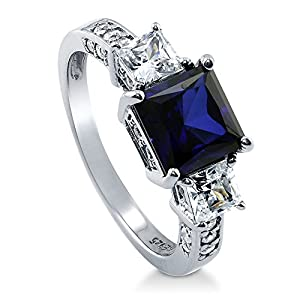 BERRICLE Sterling Silver Princess Cut Simulated Blue Sapphire Cubic Zirconia CZ 3 Stone Womens Ring by BERRICLE