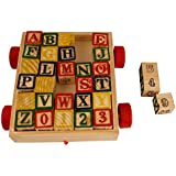 Comfort Living ABC / 123 WOODEN LEARNING BLOCKS CART FOR TODDLERS AND PRE SCHOOLERS