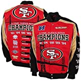 San Francisco 49ers 5-time Super Bowl Champion Twill Jacket (red/black/tan, Large)