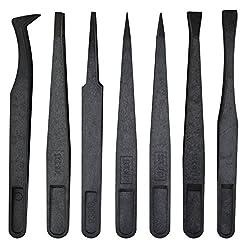 Marrywindix Tweezers Plastic Forceps Anti-static Tweezers Forceps Black Pack of 7pcs