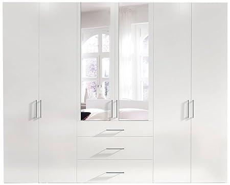 Solutions 14040-070 Drehturenschrank, 6-turig, korpus und front polarweiß mit spiegel, drei schubkästen