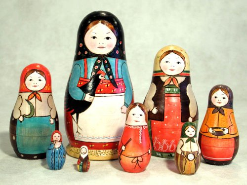 Rooster Girl Russian Nesting Doll 8pc./7