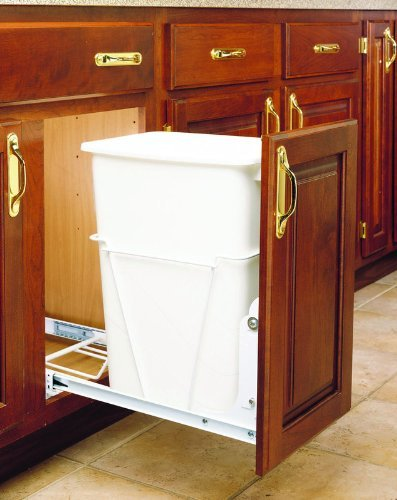 Rev-A-Shelf RV-12PB Single 35 Quart Trash Pullout - White