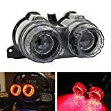 DLLL Universal JDM Afterburner LED Taillight Turn Signal Lamps For Yamaha ZUMA 125 BWs 125 X-Over Motor Scooter,Smoked Lens