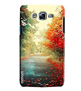 Omnam Beautiful Road Having Flowers Each Side Printed Designer Back Cover Case For Samsung Galaxy J5