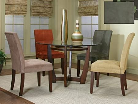 """Parkwood Round Glass Dining Set with Sage Chairs (Brown Cherry, Sage) (48""""W x 30""""H x 48""""D)"""